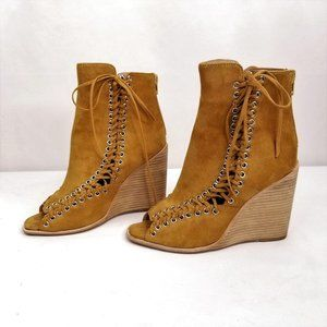 Jeffrey Campbell Brown Suede Ankle Boots Wedge 7.5